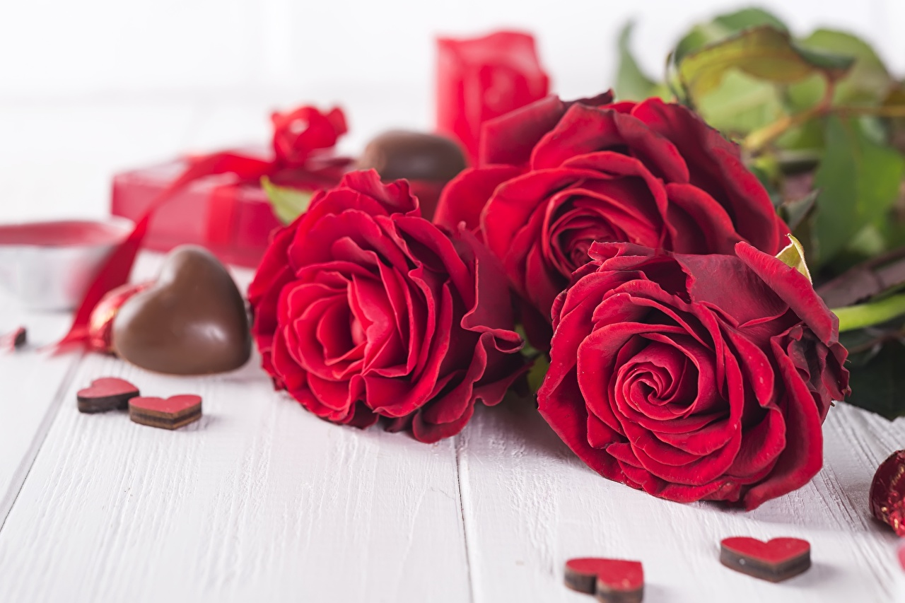 Images Valentine's Day Heart Chocolate Red rose Flowers Roses flower