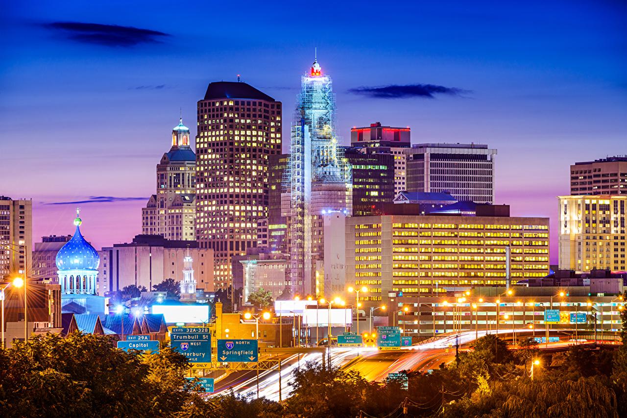、アメリカ合衆国、住宅、道、Hartford、夜、街灯、建物、都市、
