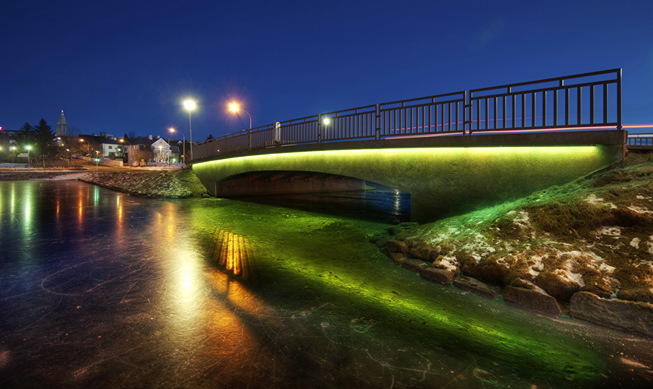 Pictures Iceland Reykjavik HDR Bridges Night Street lights