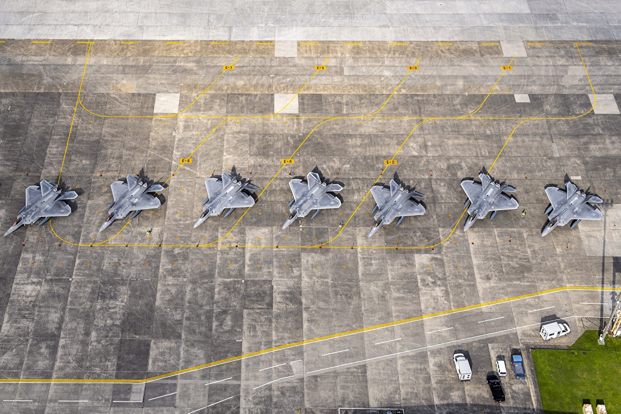 Images Fighter aircraft Airplane Japan USAF F-22 Raptor Yokota AB From above Aviation Fighter Airplane