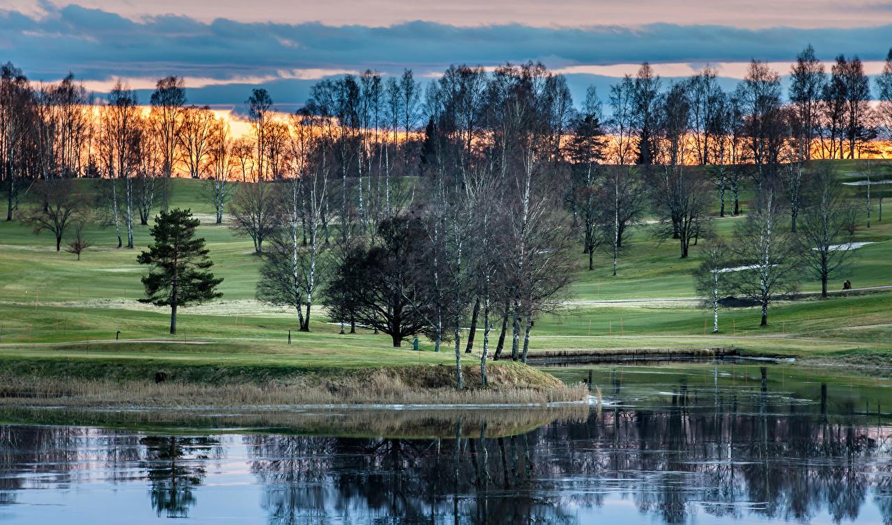 Photo Norway Nature Lake Parks Sunrises and sunsets Trees park sunrise and sunset