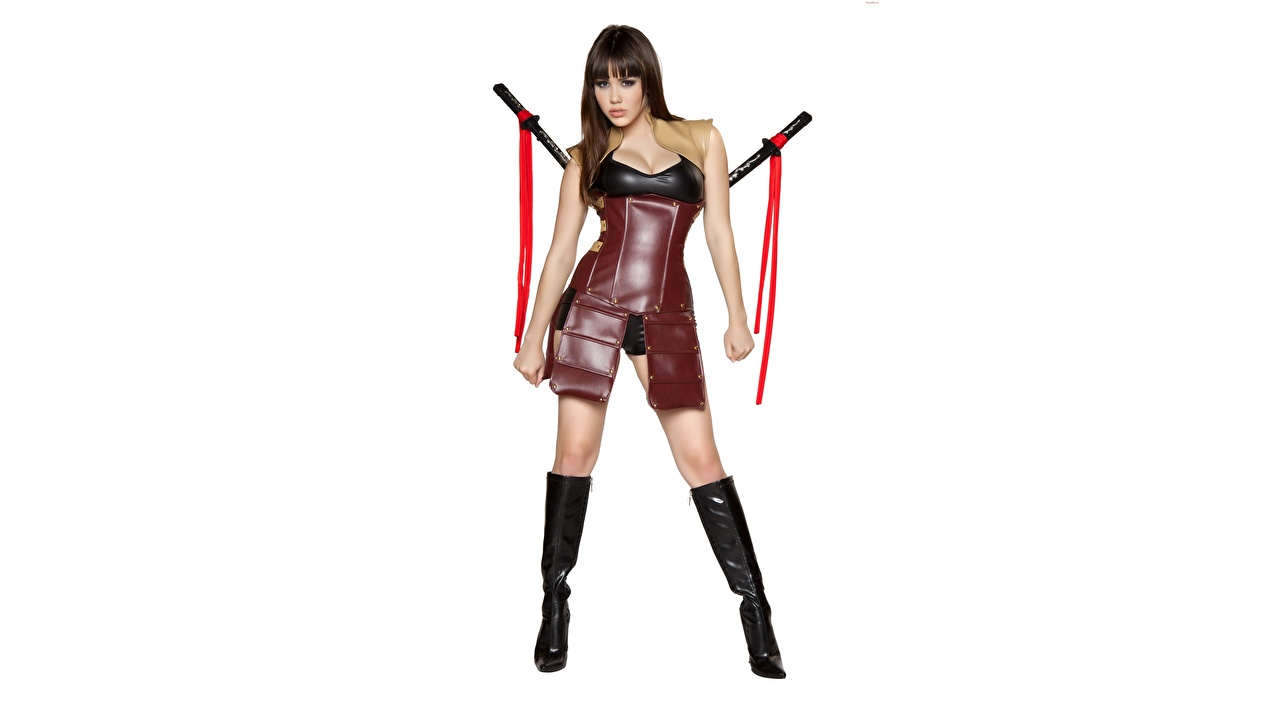 Desktop Wallpapers Armor Swords Brown haired warrior Cosplay Wearing boots young woman Legs Asian White background armour Warriors cosplayers costume play Girls female Asiatic