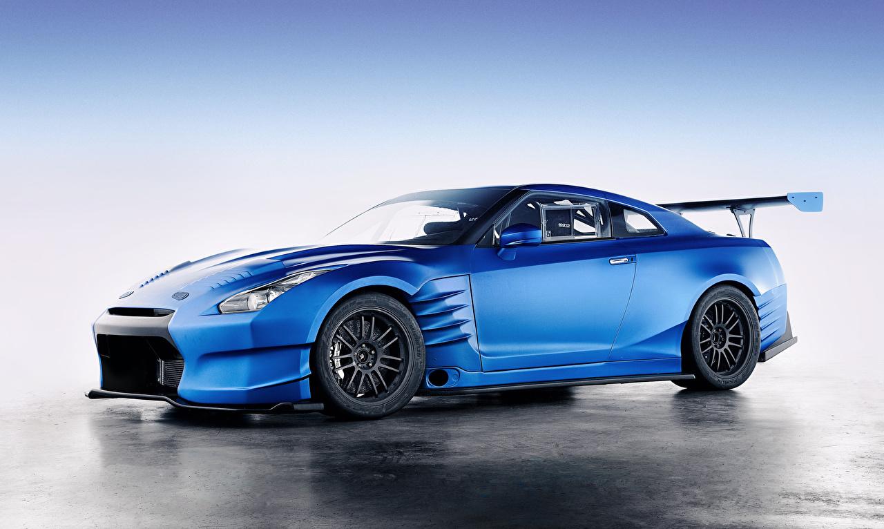 Image Nissan Gt R R35 Light Blue Side Automobile