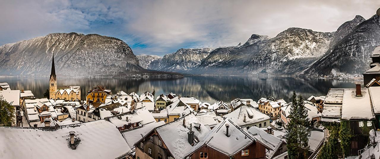 Wallpaper Hallstatt Alps Austria mountain Lake Cities Building Mountains Houses