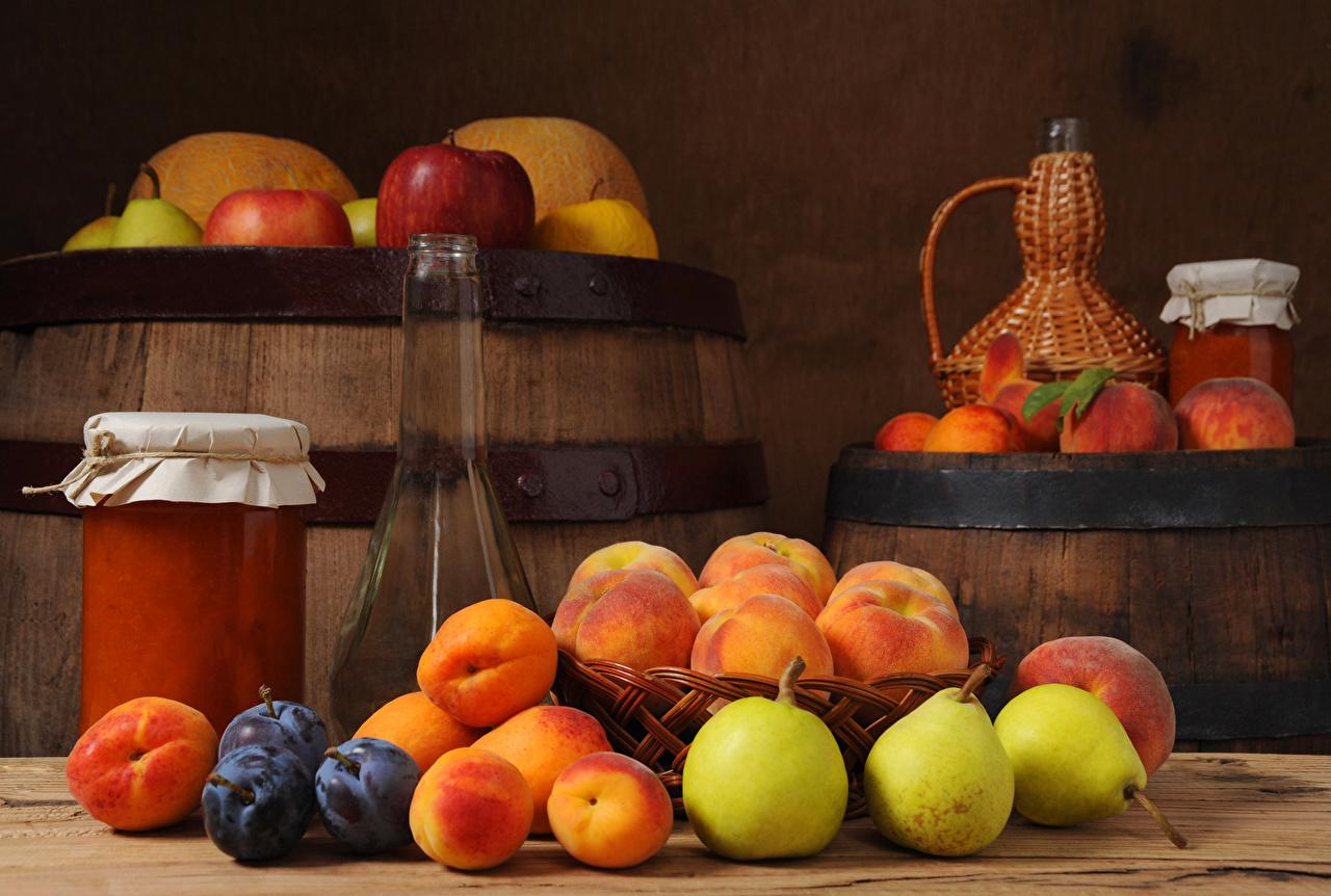 Picture Jam Apricot Jar cask Pears Plums Food Bottle Varenye Fruit preserves Barrel bottles