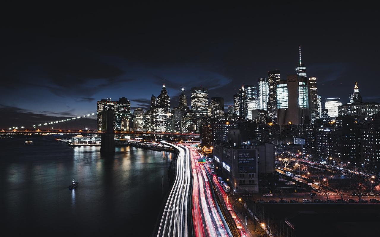 Photos Manhattan New York City USA Roads Coast night time Houses Cities Night Building
