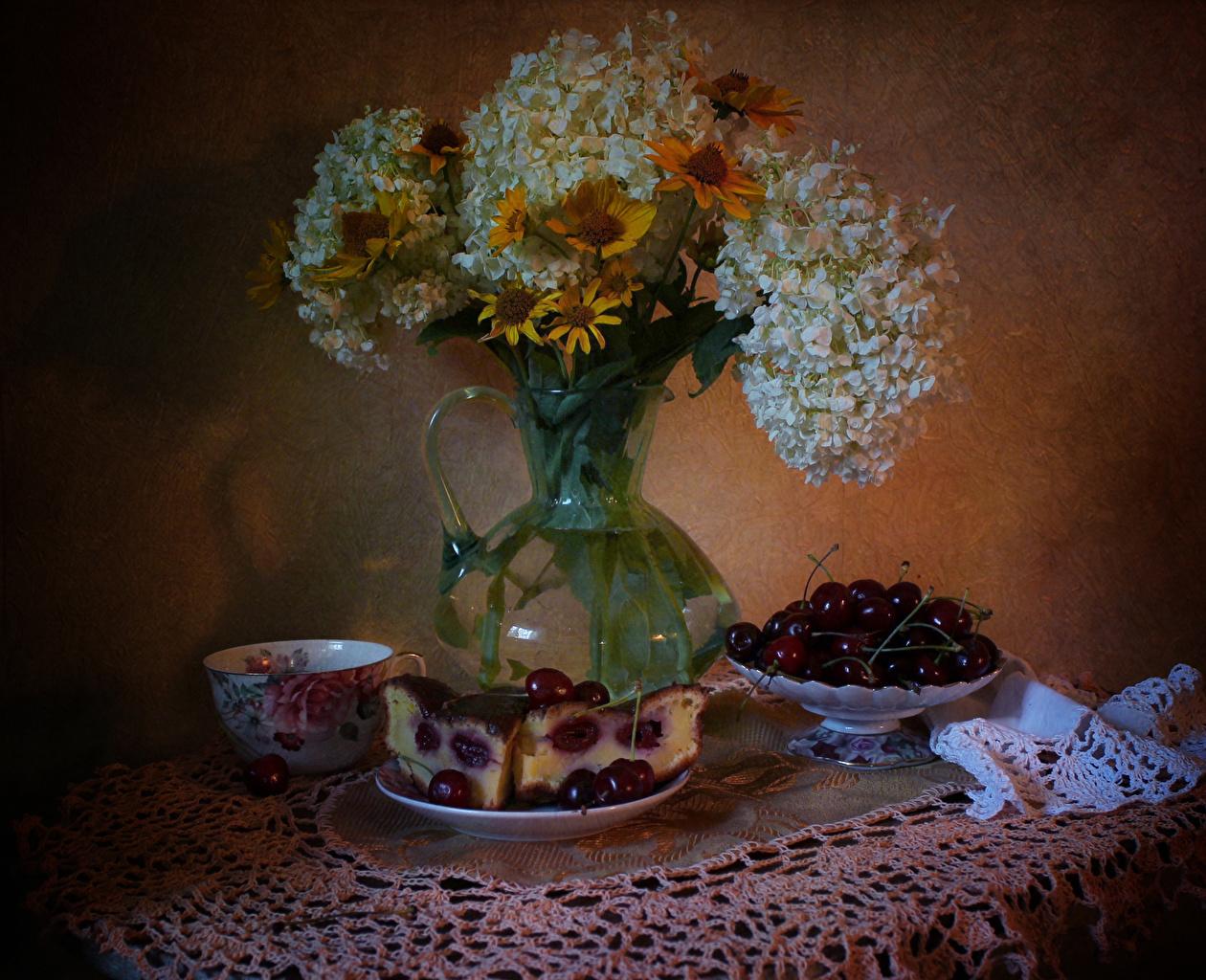 Image Pie Cherry pieces flower Gazania Hydrangea Cup Food Still-life Piece Flowers