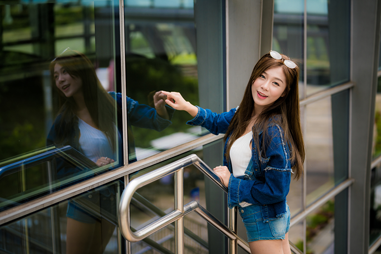 Image Smile Jacket young woman Asian reflected Glass Shorts Glasses Glance Girls female Asiatic Reflection eyeglasses Staring