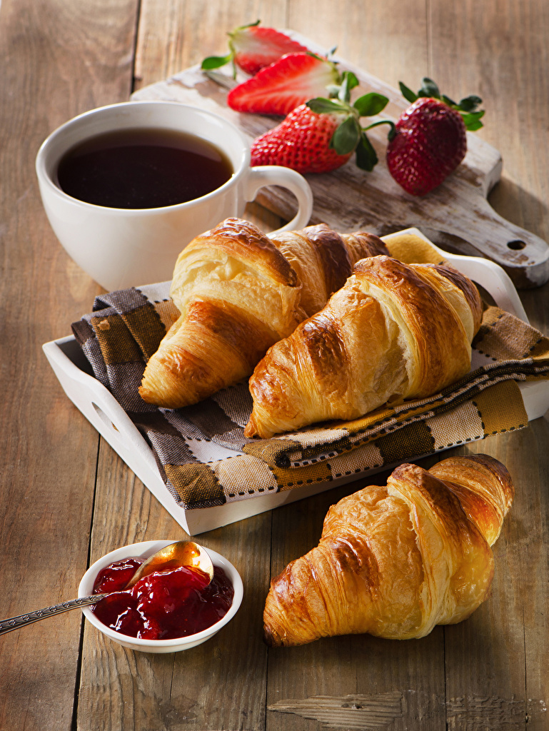 Images Tea Varenye Croissant Breakfast Strawberry Cup Food boards  for Mobile phone Jam Fruit preserves Wood planks