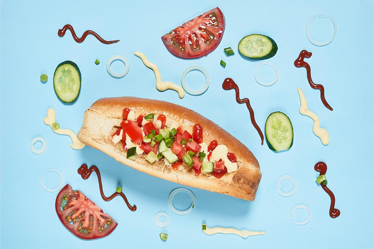 Bilder von Gurke Hotdog Tomate Brötchen das Essen Farbigen hintergrund Tomaten Lebensmittel