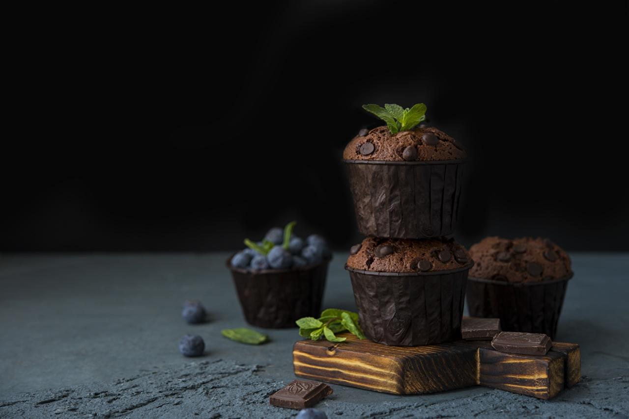 Fotos Schokolade Keks Muffin Heidelbeeren das Essen Lebensmittel