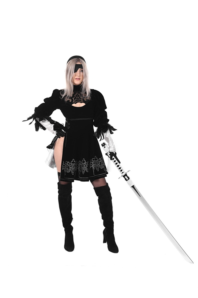 Images young woman Eva Elfie Pirates Blonde girl White background Uniform Legs Wearing boots Swords iStripper Cosplay  for Mobile phone Girls female cosplayers costume play
