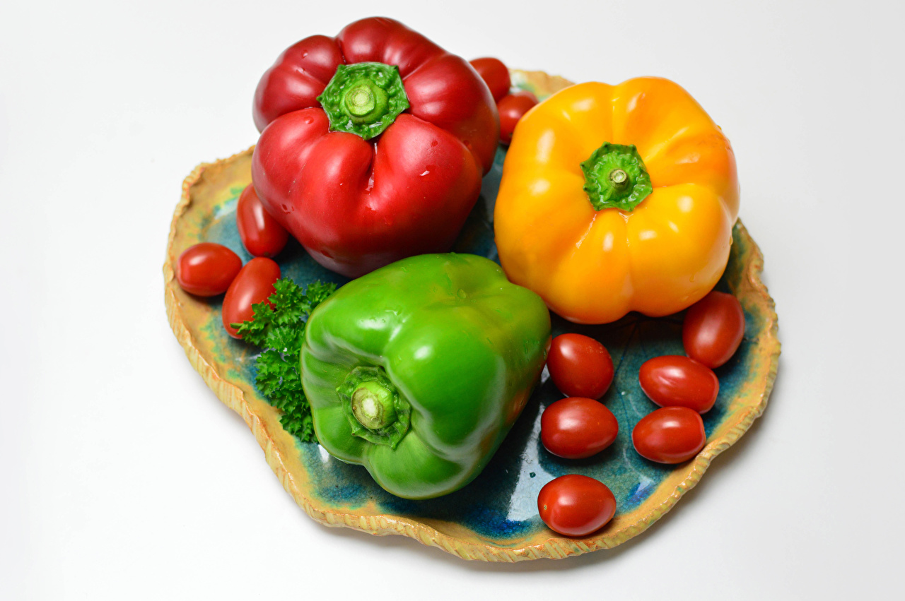 Photo Multicolor Tomatoes Food Three 3 Bell pepper White background