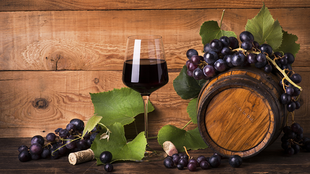 Pictures Wine cask Grapes Food Stemware Wood planks Barrel boards
