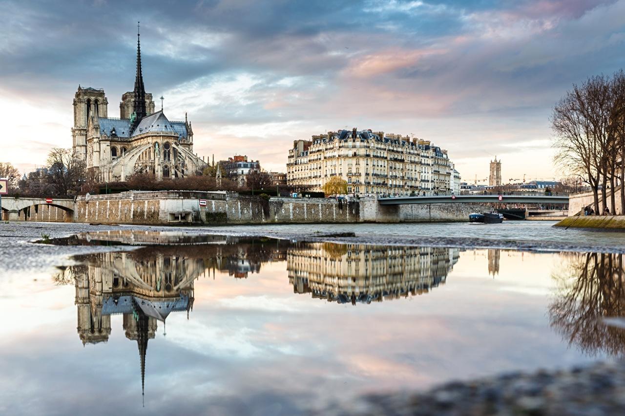 Image Paris Cathedral France Seine bridge river Cities Bridges Rivers