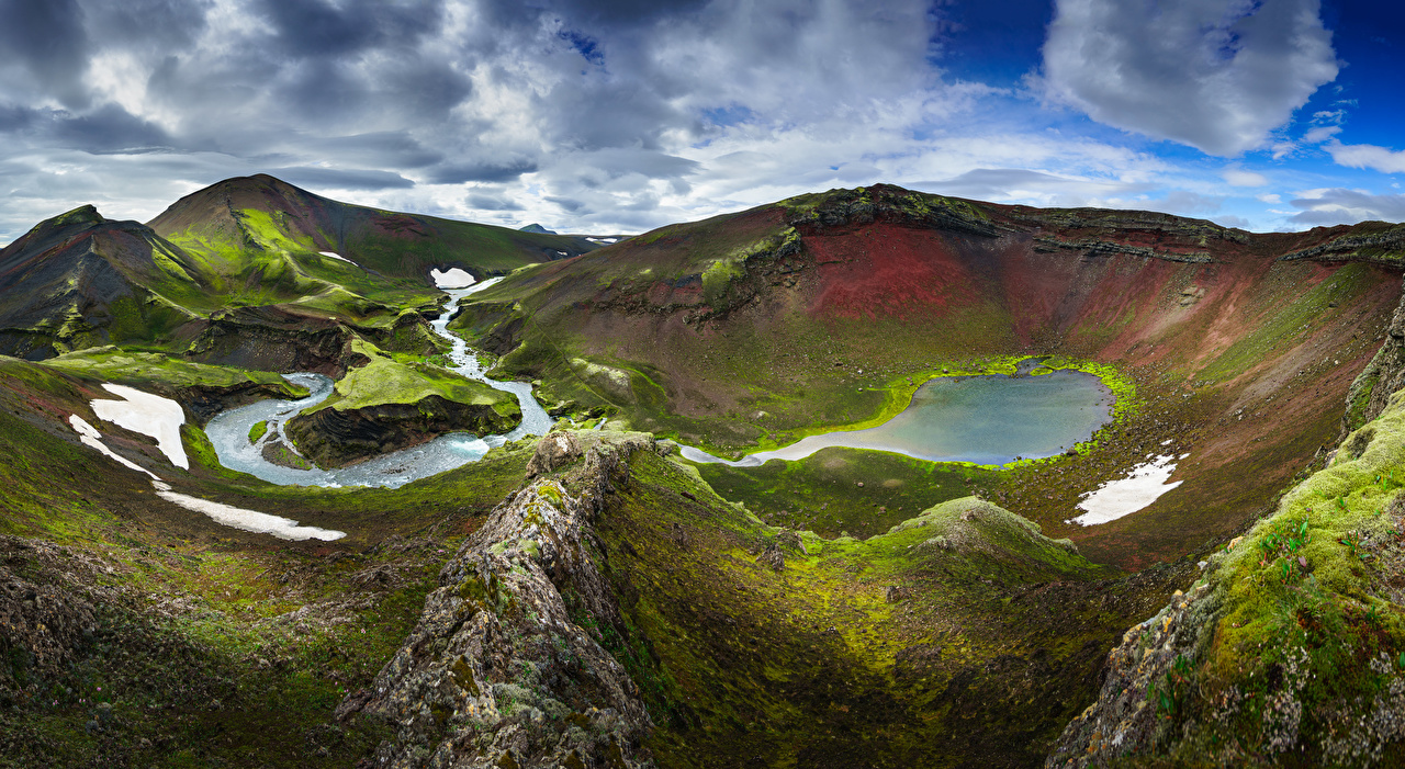 Picture Iceland Fjallabak Nature mountain Clouds Mountains