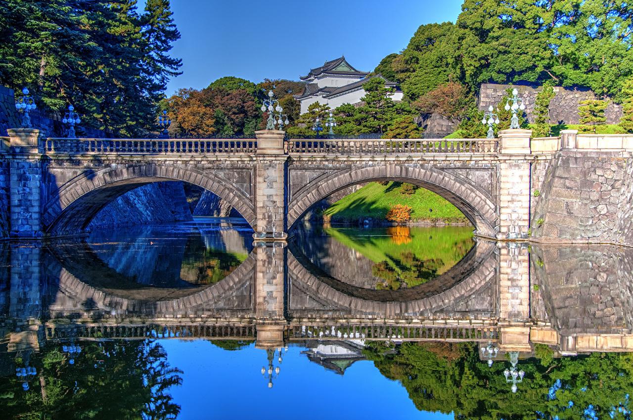 Pictures Tokyo Japan Imperial Palace Nijubashi Bridge bridge park river Cities Bridges Parks Rivers