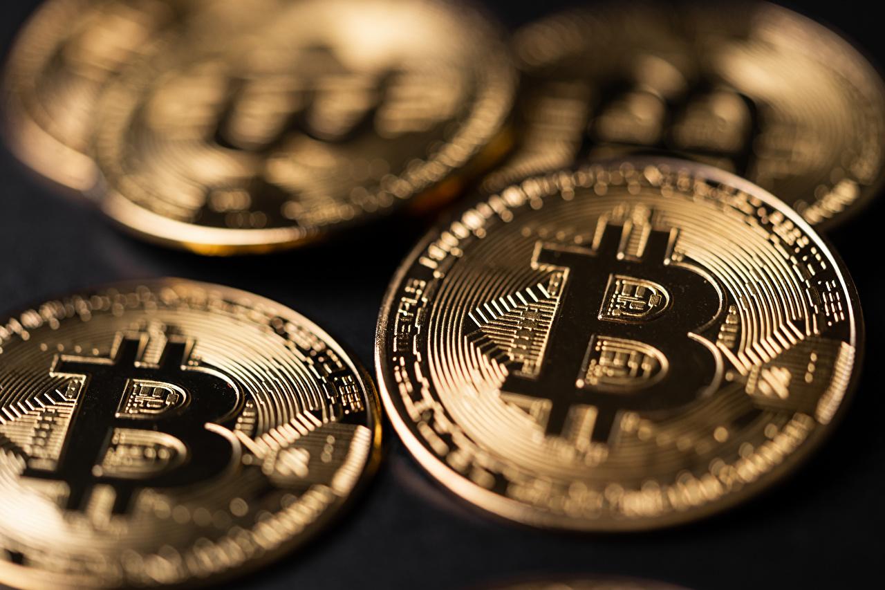 Bilder von Münze Bitcoin Geld hautnah Nahaufnahme Großansicht