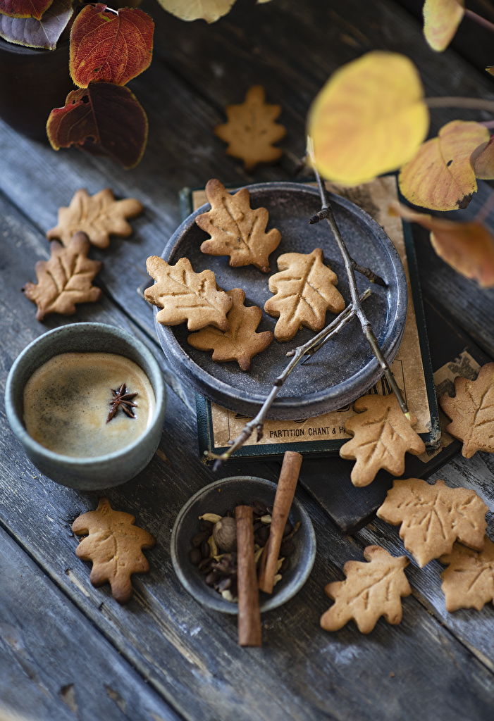 Wallpaper Foliage Coffee Cappuccino Star anise Illicium Mug Food Cookies Wood planks  for Mobile phone Leaf boards