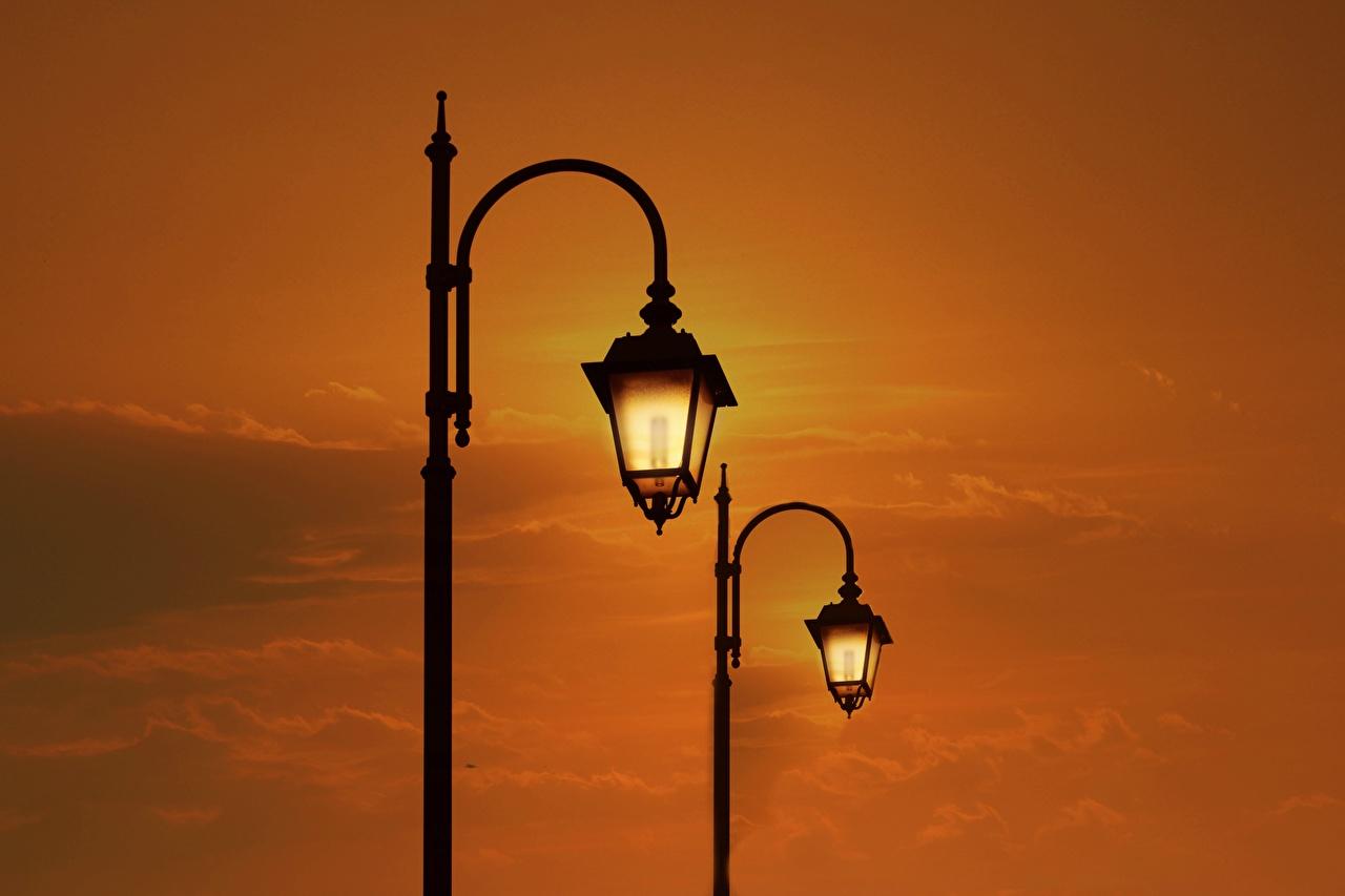 Фотографии две Рассветы и закаты Уличные фонари 2 два Двое вдвоем рассвет и закат