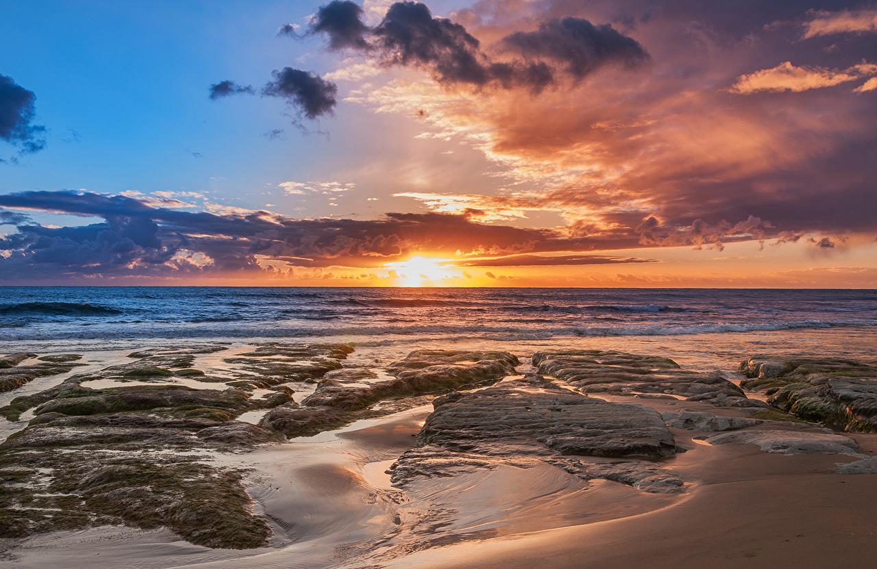 Fotos Autonome Region Sizilien Italien Natur Himmel Sonnenaufgänge und Sonnenuntergänge Küste Wolke