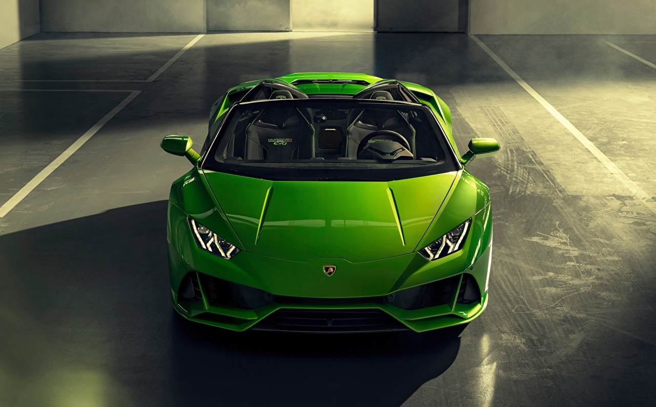 Desktop Wallpapers Lamborghini Spyder Evo Huracan Roadster Green Cars Front auto automobile
