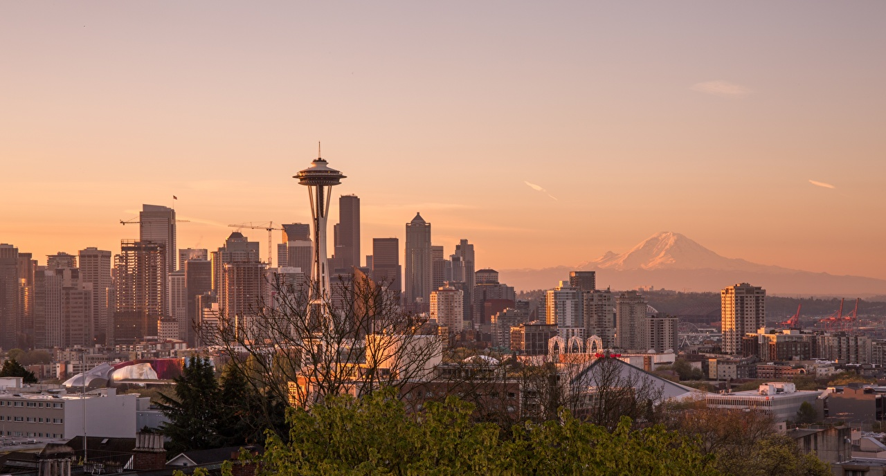 Photos Seattle USA Megapolis Washington state Sunrises and sunsets Skyscrapers Cities megalopolis sunrise and sunset