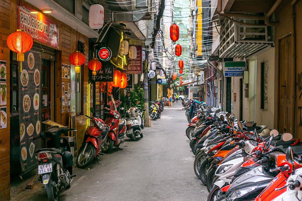 Desktop Wallpapers Vietnam Saigon Motorcycles Street Many Cities Building motorcycle Houses