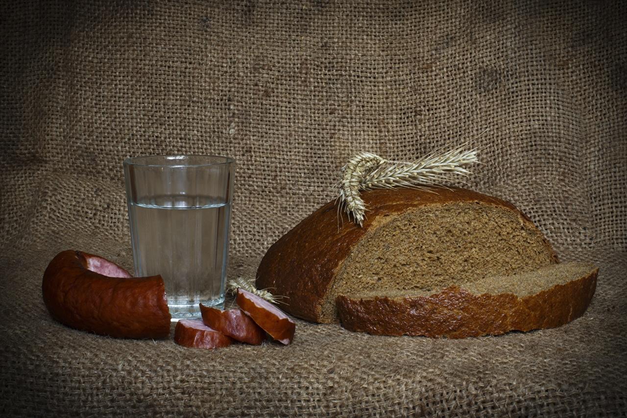 Foto Wurst Wodka Brot Ähre Trinkglas Lebensmittel geschnittene Ähren spitze spitzen das Essen Geschnitten geschnittenes
