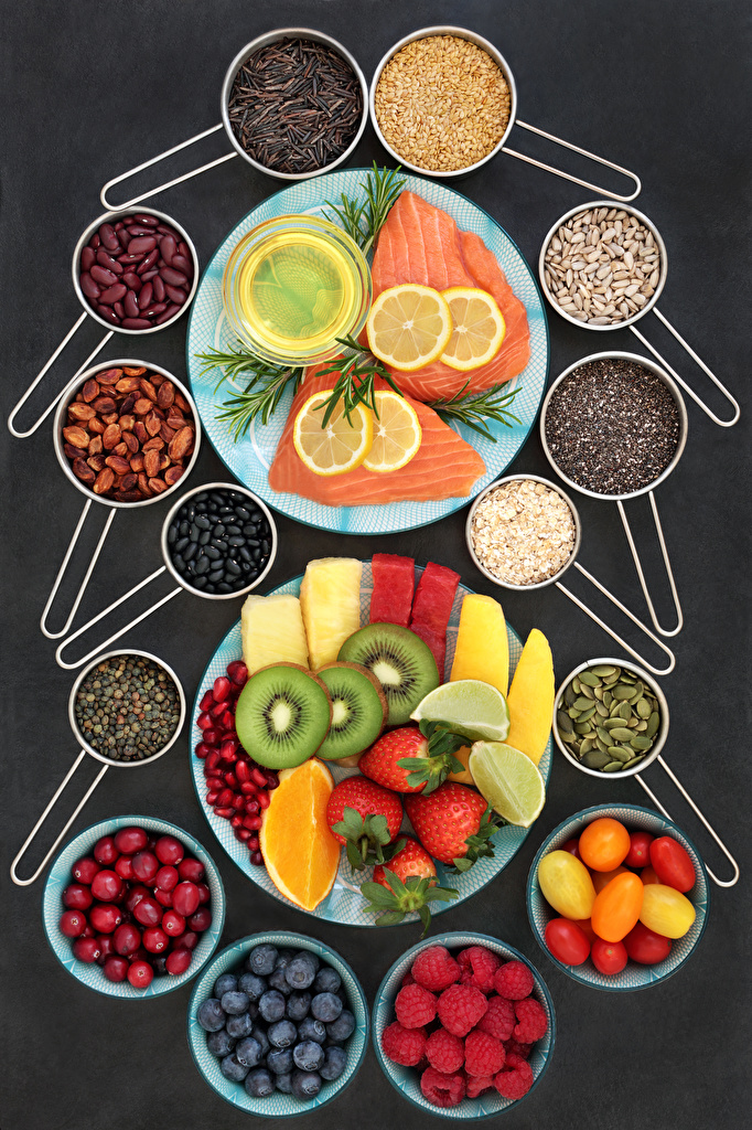 Images Tomatoes Grain Lemons Raspberry Strawberry Fish - Food Food Fruit Berry Plate Vegetables Gray background  for Mobile phone