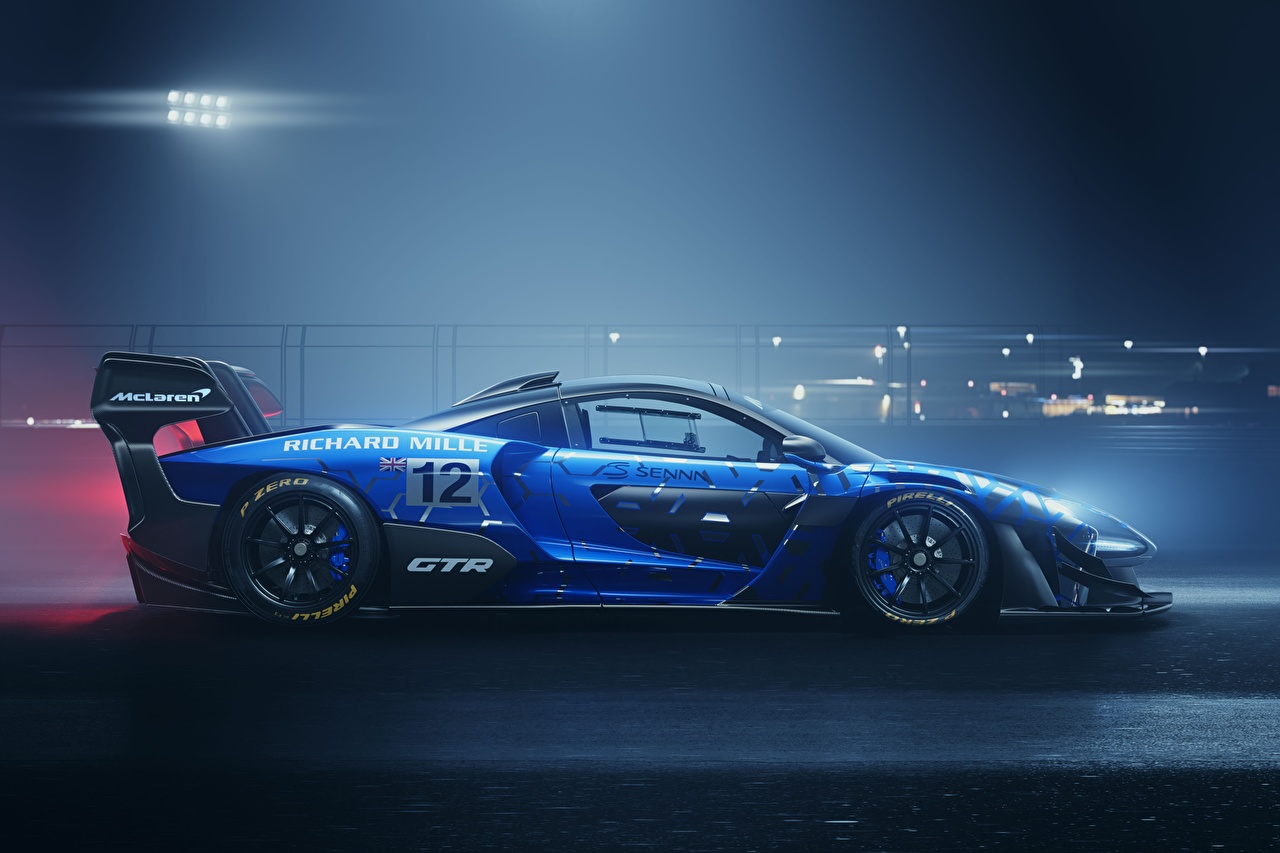 Picture Tuning McLaren GTR Senna track car Blue Side Cars auto automobile