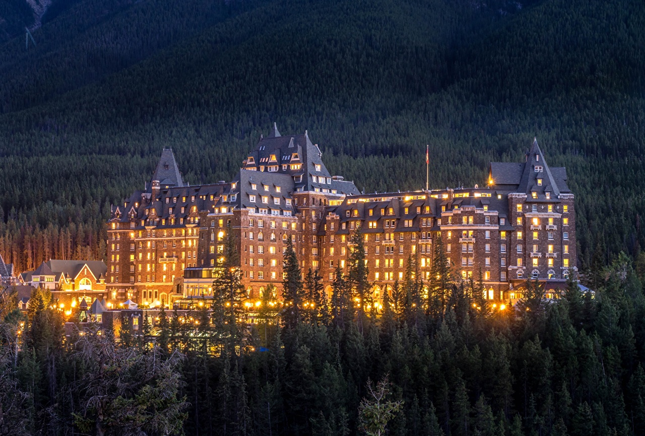 Picture Canada Fairmont Banff Springs Hotel Evening Cities Building Houses