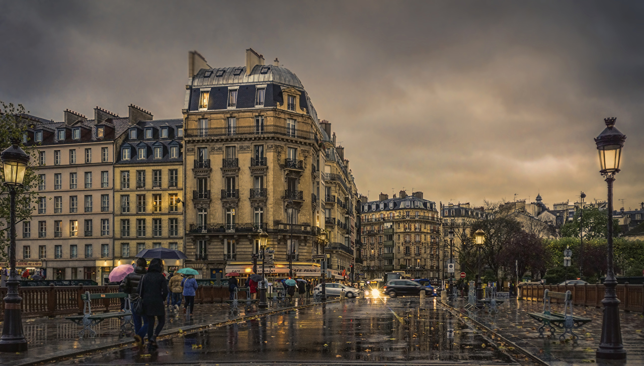 Pictures Paris France Street Evening Street lights Houses Cities Building