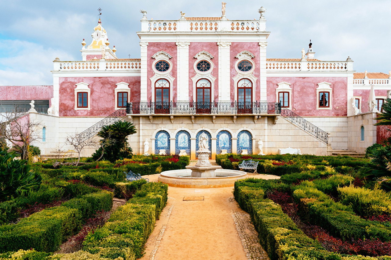 Desktop Wallpapers Palace Portugal Fountains Pousada Palacio De Estoi Faro Gardens Bush Cities Shrubs