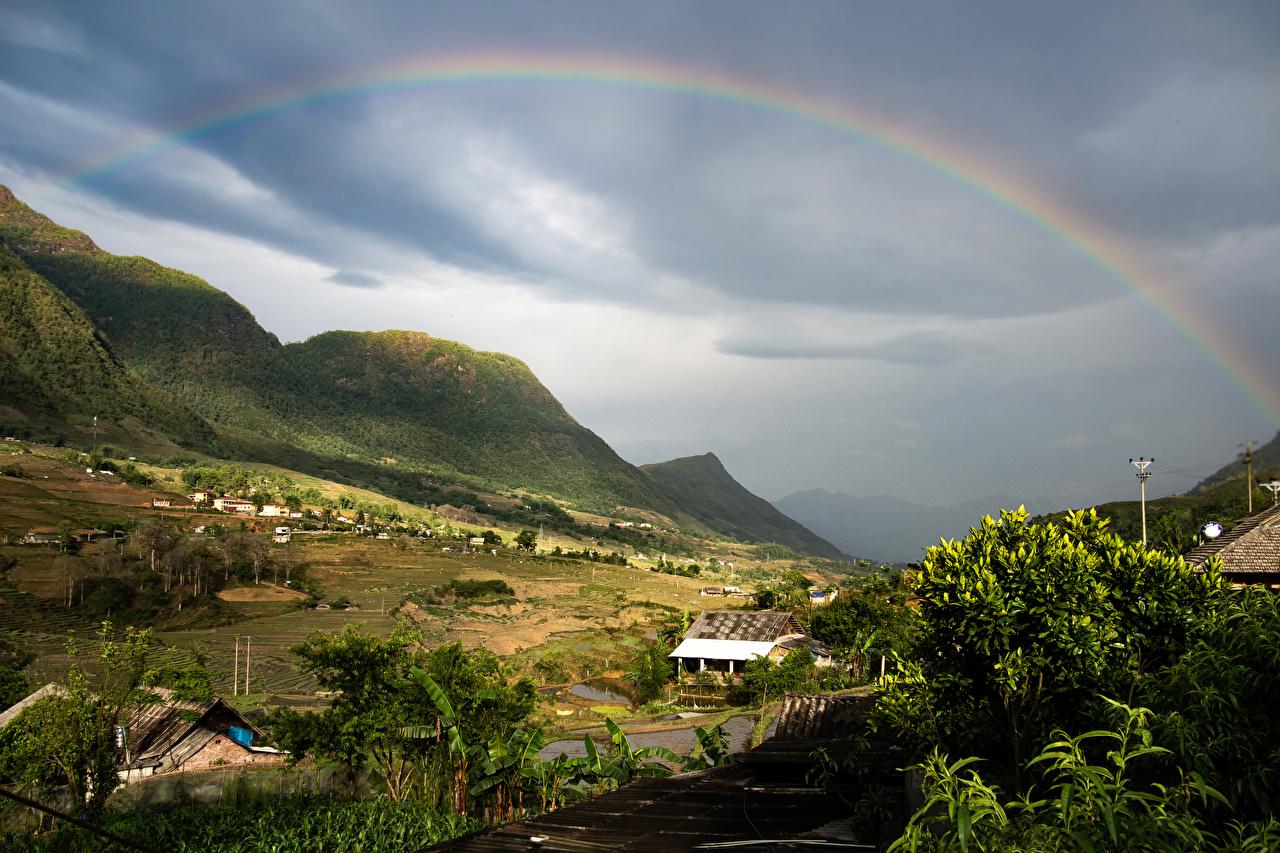 Bilder von Vietnam Dorf Lao Cai Berg Natur Regenbogen Himmel Felder Haus Gebirge Acker Gebäude