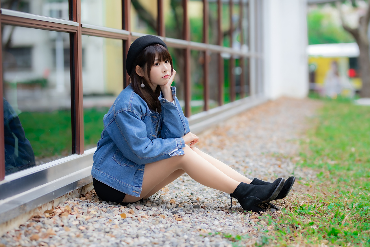 Pictures Beret Girls Jacket Legs Asian Sitting female young woman Asiatic sit