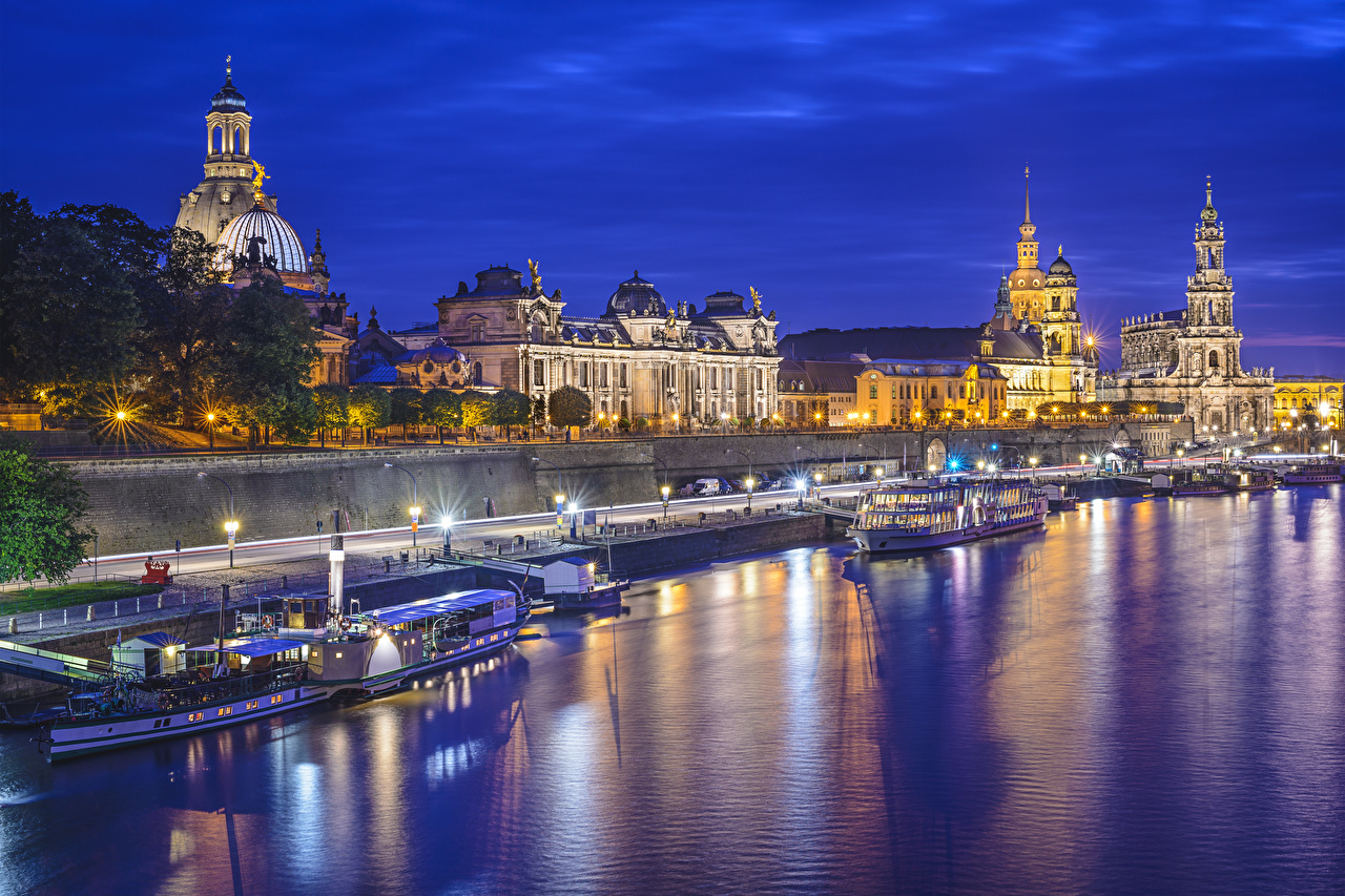 Photos Dresden Germany Saxony, Elbe Riverboat Night Rivers Street lights Cities river night time
