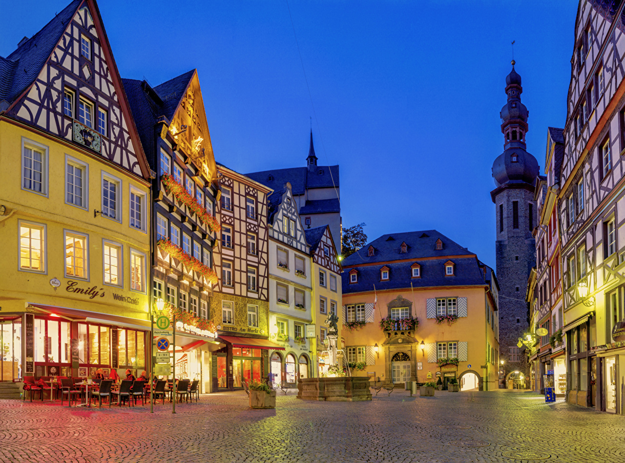 Desktop Wallpapers Germany Fountains Cochem Cafe Street Evening Cities Building Houses