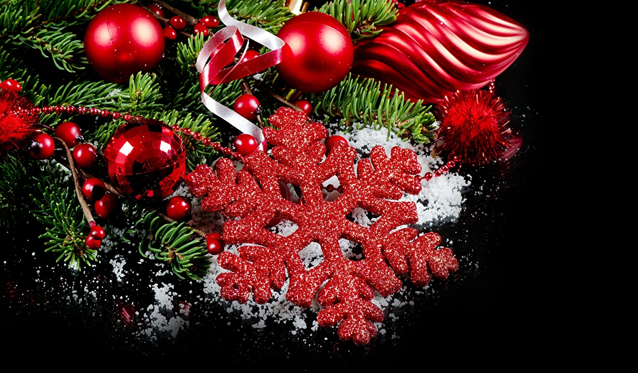 Picture Christmas Red Snowflakes Balls Holidays New year