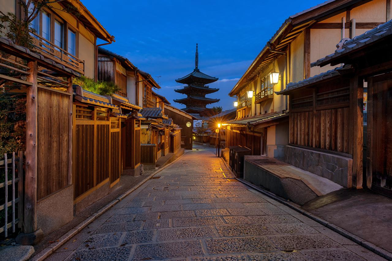 Desktop Wallpapers Kyoto Japan Gion Street Street lights Houses Cities Building