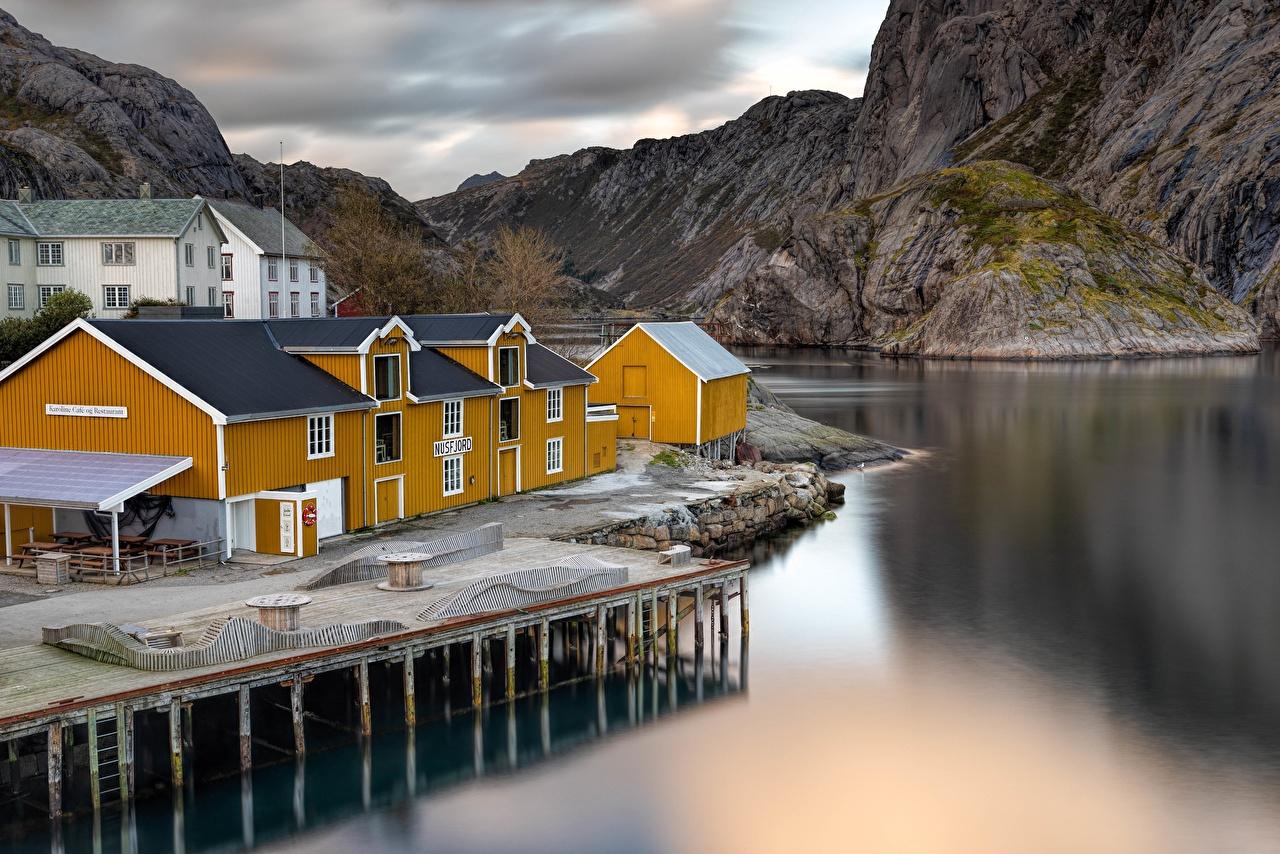 Wallpaper Lofoten Norway Marinas Cities Building Pier Berth Houses