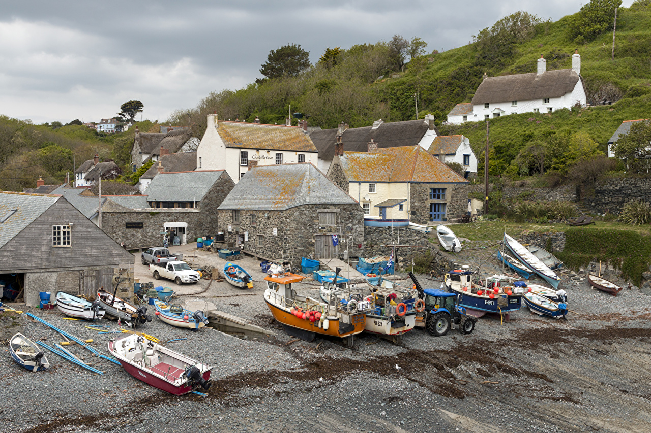 Wallpaper United Kingdom Cadgwith Cove Boats powerboat Houses Cities speedboat Motorboat Building