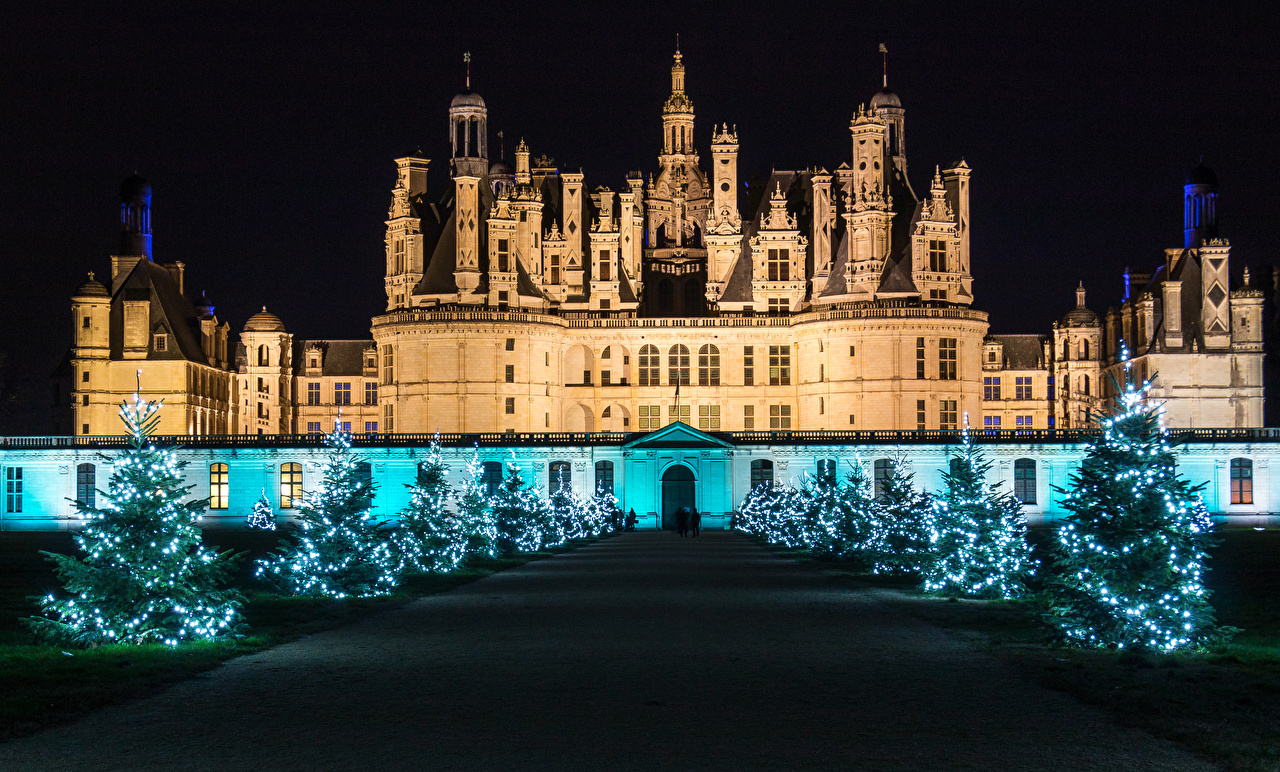 Images France Christmas Chambord Avenue Castles Christmas tree night time Fairy lights Cities New year Allee castle New Year tree Night