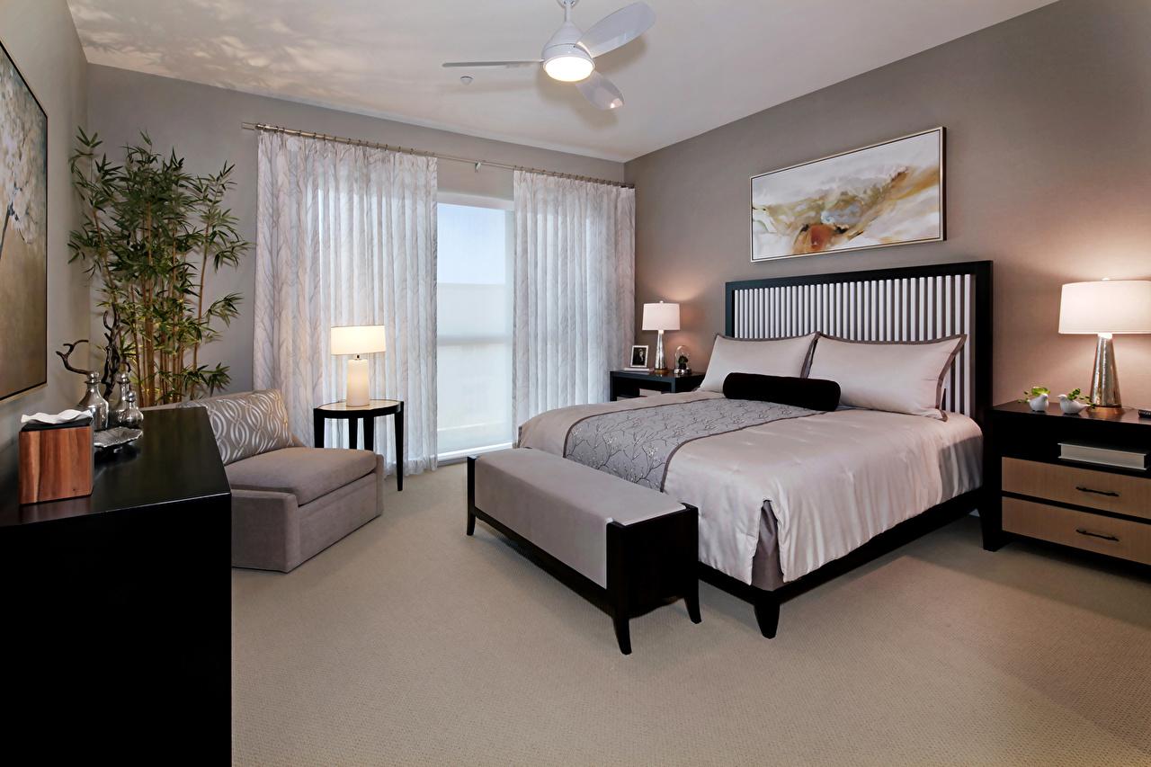 壁紙 インテリア デザイン 寝室 ベッド アームチェア ランプ