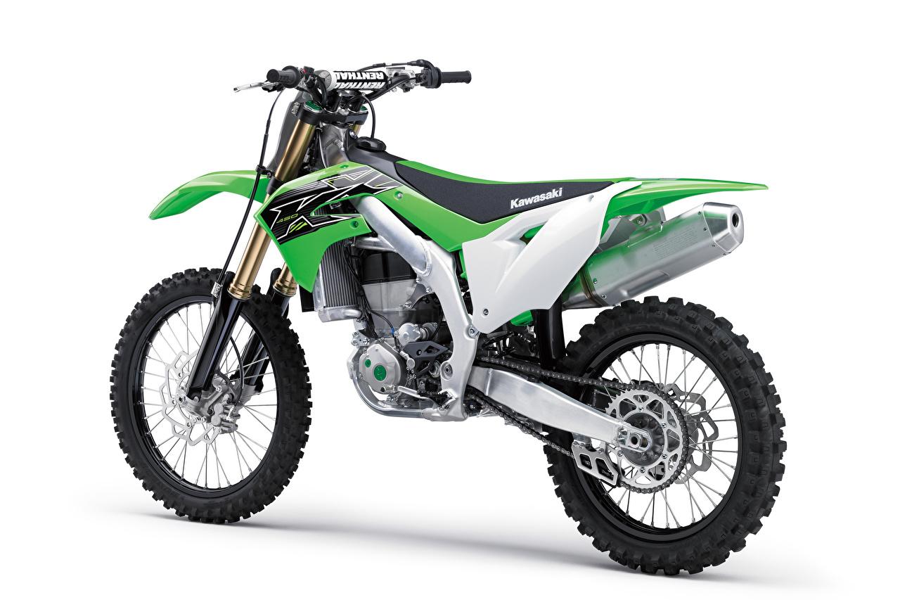 Image Kawasaki KX450, 2018 Green Motorcycles White background motorcycle