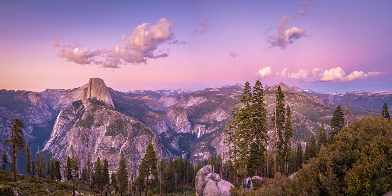 Fotos Yosemite Kalifornien Vereinigte Staaten Panorama Glacier Point Natur Felsen Gebirge Park Landschaftsfotografie Bäume USA Panoramafotografie Berg Parks