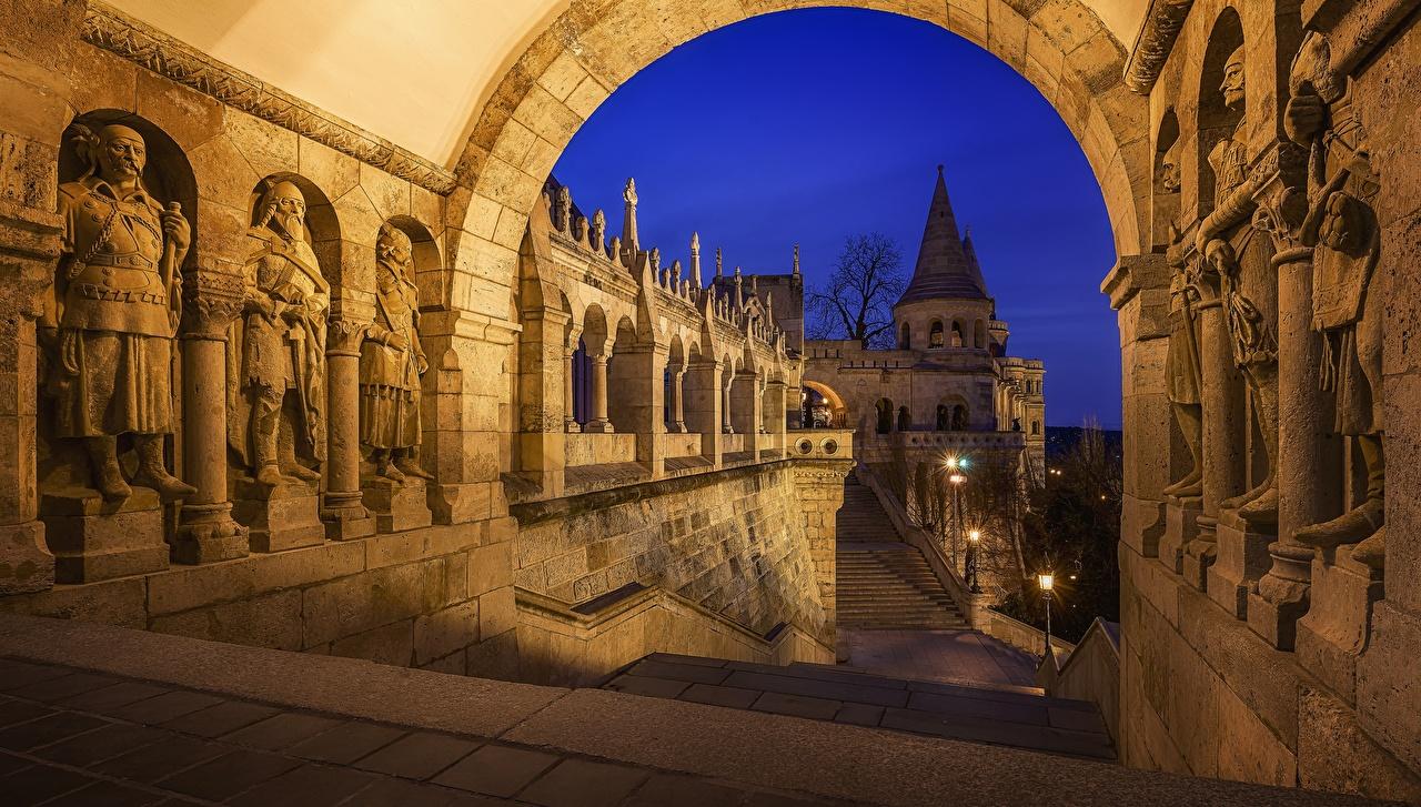 Wallpaper Budapest Hungary Arch Fisherman's Bastion night time Cities Night