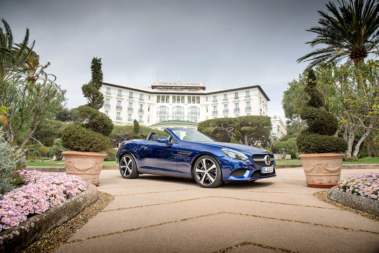 Fotos von Mercedes-Benz 2016 SLC 300 Cabriolet Blau Autos Metallisch Cabrio auto automobil