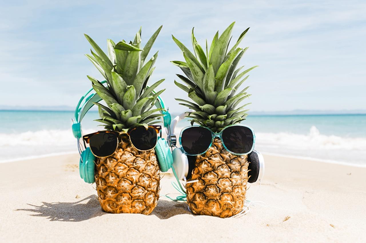 Photo Headphones Two Sand Pineapples Food eyeglasses 2 Glasses