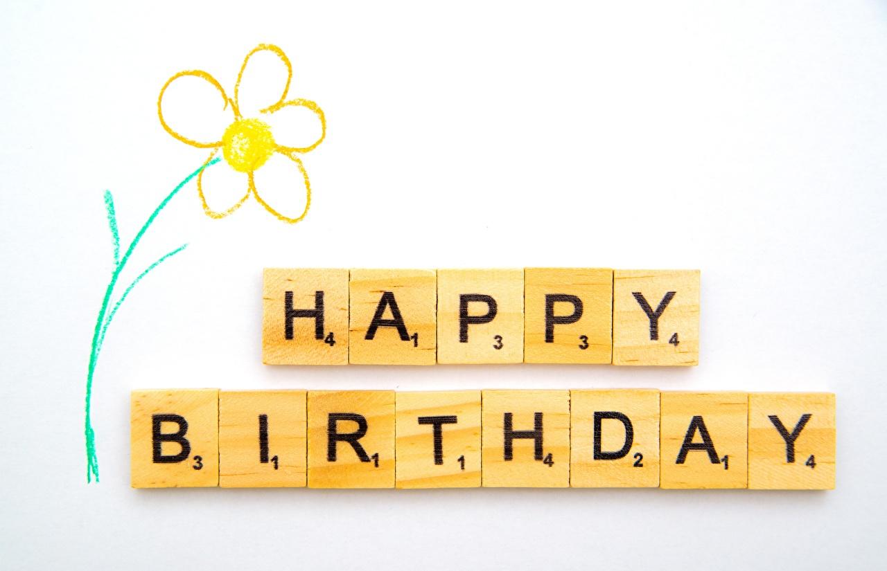 Cumpleaños Tarjeta de felicitación de la plant Palabra Inglés Fondo gris texto, ingleses